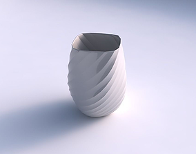 3D print model Vase low bulky helix with twisted bands