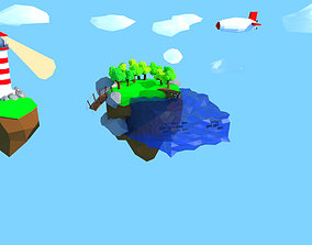 3D model Low Poly Floating Islands