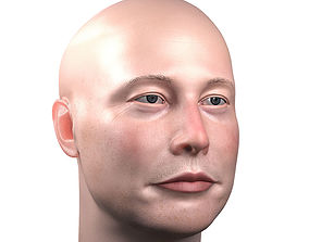 game-ready PBR Elon Musk skin textured 3D portrait