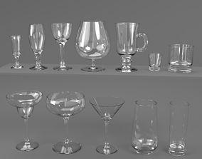 Drink Glass set Blender Cycles 3D
