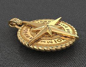 3D print model pendant Gold Compass