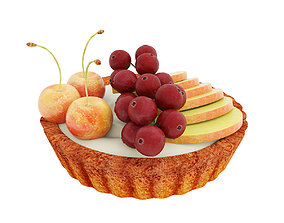 Fruit berry mini tart 3D