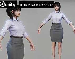 3D asset Business woman in a working Suit Game Assests