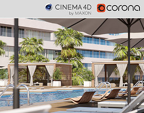 3D Corona - C4D Scene files - Miami Holiday Resort