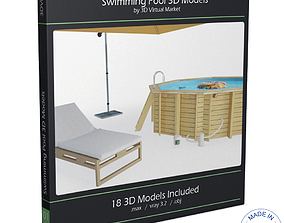 Swimming Pool and Accessories Collection parasol 3D