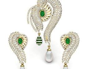 Women pearl pendant-earrings set 3dm 2