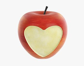 Apple fruit with heart shaped cut out 3D model
