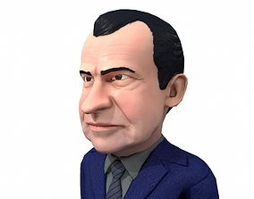 Richard Nixon caricature rigged low 3D asset