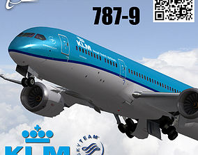 3D model animated Boeing 787-9 KLM Royal Dutch Airlines