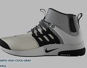 low-poly Nike Air Presto Mid Utility Cool Gray 3D Model