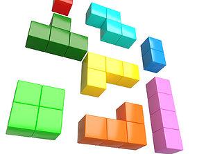 Tetris Bricks Set 3D asset
