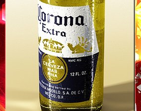 Corona Beer Bottle Coaster and Lemon 3D