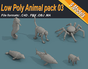 Low Poly Animal Isometric Icon Pack 03 3D asset