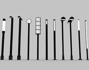 Urban Street Lights - 13 Objects 3D model