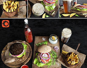 3D model Burgers with potatoes and beer