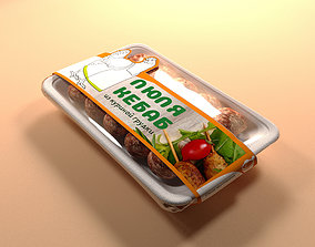 3D PVC tray with mince sausages