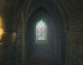 Low Poly Gothic Chapel With PBR Materialstet 3D model