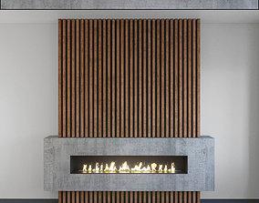 Wall Panel Set 127 Fireplace 3D