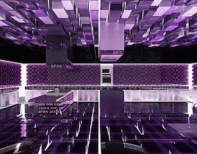 Futuristic Purple Kitchen 3D