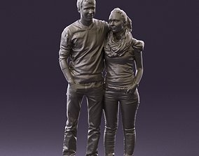 Man in red top hug woman with scarf 0867 3D Print Ready