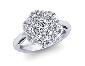 platinum engagement-ring diomand ring 3d model print