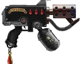 pistol 3D printable model Warhammer 40k Flame Bolter