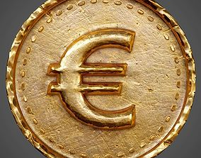 Old Coin with Euro sign - PBR Game-Ready 3D model