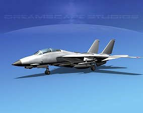 3D model animated Grumman F-14D Tomcat Bare Metal