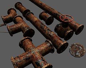 3D asset Metal Pipes Set