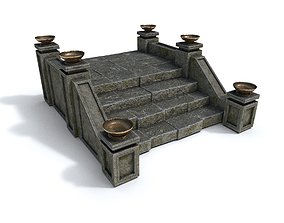 Stairs with fire 3D asset