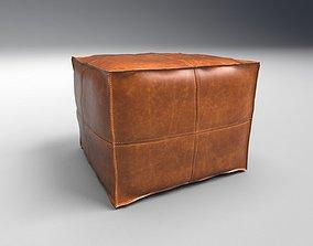 3D asset Leather Pouf