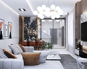 Modern design of the living room together with the hall 3D