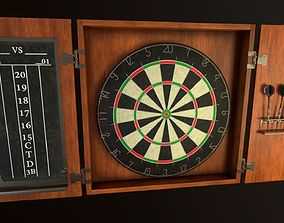 3D asset PBR Game Ready Dartboard with Cabinet