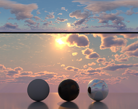 3D Skydome HDR - Large Clouds Sunset - 2