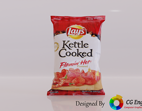 Lays 3D Model - Lays Kettle Cooked Flamin VR / AR ready