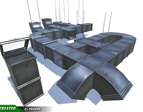 Lowpoly Air Duct Collection Pack 3d model game-ready