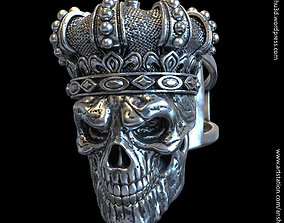 King skull with crown vol1 ring 3D print model