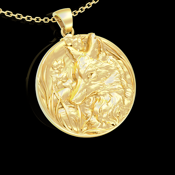Fox in nature Pendant jewelry Gold 3D print model