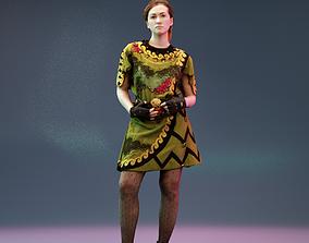 Girl in Elf Robin Hood Outfit Posed 3D model
