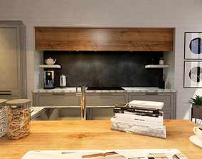 3D model modern kitchen colour scheme