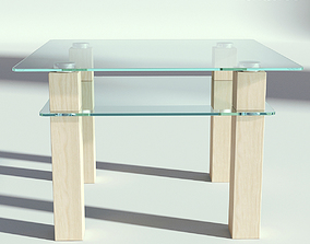3D Glass Wooden Coffee Table