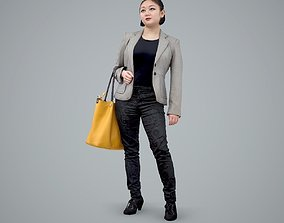3D model Business Woman with Yellow Handbag