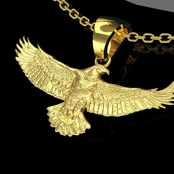 Eagle Spread Pendant jewelry Gold 3D print model
