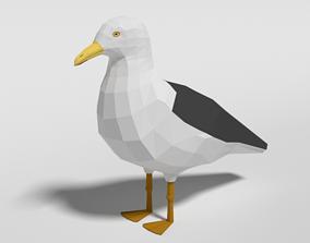 3D asset Low Poly Cartoon Seagull