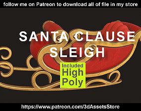 Environment - Christmas Santa Claus Sleigh 3D asset