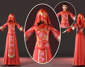 3D PBR Chinese woman wedding dress bridal veil