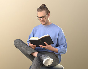 realtime Hipster Guy Sitting Reading Casual 3Dhuman - 1