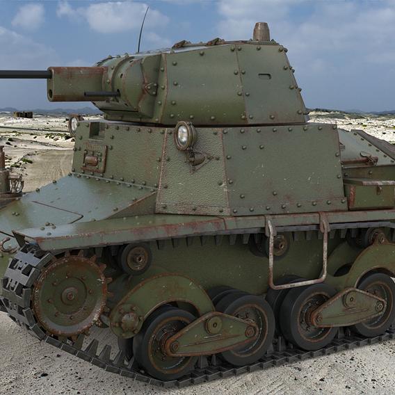 Tank L6 40 Green Ansaldo Fiat Italian Vray