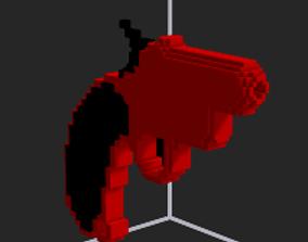 rigged Flire gun fire gun 3D voxel gun
