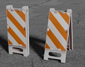 3D model Foldable Vertical Panel Safety Sign